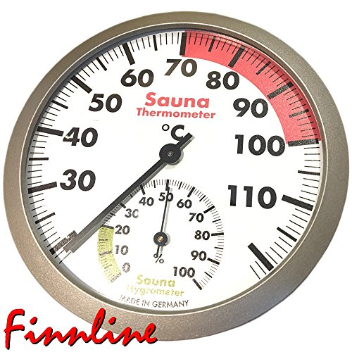 """Finnline Klimamesser """"CLASSIC"""" I Versand durch Amazon I Schöne Thermometer und Hygrometer - Kombination für die Sauna I Durchmesser 12 cm I Mit großen Ziffern um die Werte gut ablesen zu können - auch ohne Brille I Saunazubehör I NEU"""