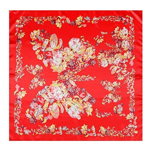 Yammucha Seidenschal 90 * 90cm Temperament Elegant Damen Big Square Handtuch Sonnencreme Schal Gedruckt Seidenschal (Color : Red, Size : 90 * 90cm) - Sonnencreme, Handtuch