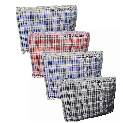 Pack Of 6Extra große Starke Aufbewahrung Laundry Einkaufstaschen–XL beweglicher Taschen mit Reißverschluss und Tragegriffe karierten–wiederverwendbar Store Reißverschluss Tasche–Schwarz Rot Blau, Extra Large (Voll Bettwäsche Vorhänge Bettdecke)