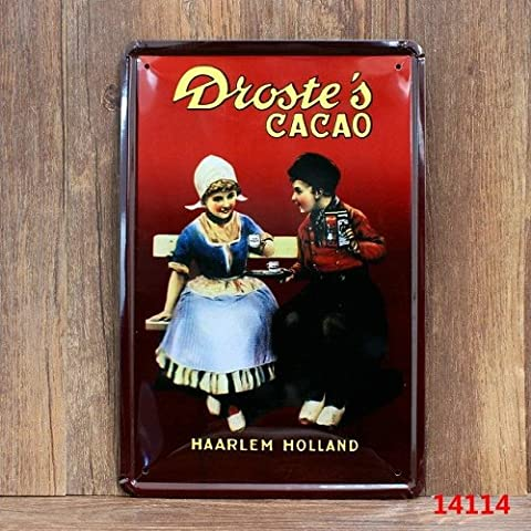 Sette Boutique Haarlem Olanda Cacao per metallo Tin Sign 20x 30cm da parete 20,3x 30,5cm (Kit Targa Hardware)