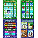 4 Pieces Educational Learning Posters, Days of the Week, Shapes and Colors, Seasons and Months, Planet and Weather Charts for Toddlers and Kids