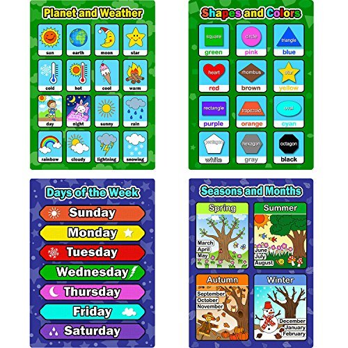 4 Piezas de Pósters Educativos de Aprendizaje, Gráficos de Días de la Semana, Formas y Colores, Estaciones y Meses, Planetas y Clima para los Niños