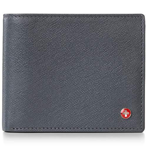 alpine swiss RFID Herren Geldbörse Deluxe Kapazität Münzfach Doppelfach mit geteiltem Geldfach - Grau - Einheitsgröße -