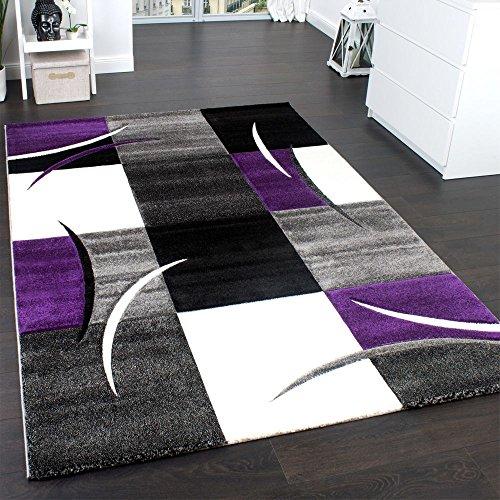 Paco Home Designer Teppich Mit Konturenschnitt Trend Teppich Modern Kariert Lila Schwarz Grau, Grösse:80x150 cm - Lila Teppich Schwarz Und