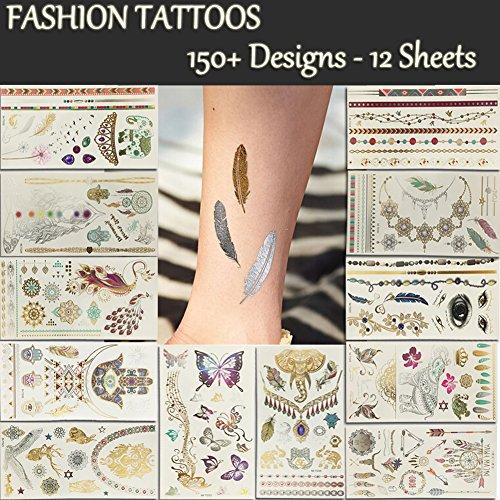 12 Premium Sheets Metallic Flash Temporary Tattoos 150 Shimmer