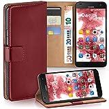 moex Huawei G7 | Hülle Dunkel-Rot mit Karten-Fach 360° Book Klapp-Hülle Handytasche Kunst-Leder Handyhülle für Huawei Ascend G7 Case Flip Cover Schutzhülle Tasche