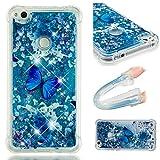 E-Mandala Huawei P8 Lite 2017 Hülle Glitzer Flüssig Liquid Glitter Case Cover Handyhülle Schutzhülle Transparent mit Muster Durchsichtig Tasche Silikon - Blumen Schmetterling Lila