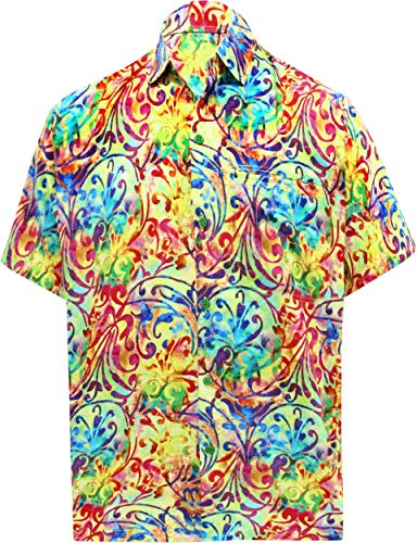 LA LEELA männer Hawaiihemd Kurzarm Button Down Kragen Fronttasche Beach Strand Hemd Manner Urlaub Casual Herren Aloha Mehr_207 4XL Likre DRT106 - Button-down-vintage-shorts