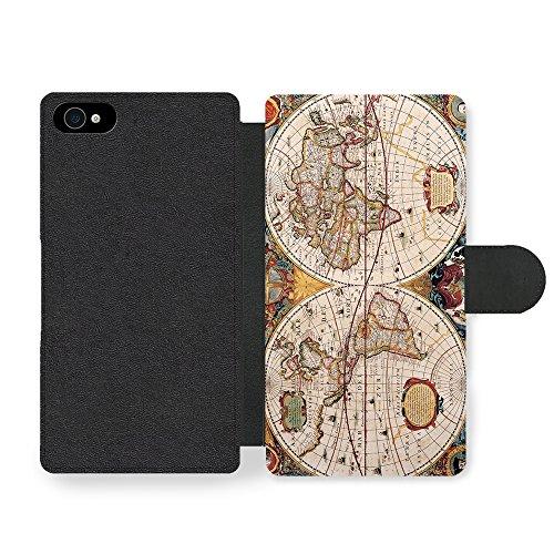 Micro Gorilla Old Geographic Antique World Map Illustration Faux Ledertasche Hülle füriPhone 4 4S - Faux Antique
