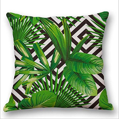 Longless_Aquarell kontinentalen tropischen grünen Blattpflanzen Baumwolle Flachs Kissen probe Haus großer Kopfstütze