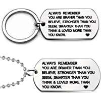 """Bodhi2000 Pendant Necklace & Keychain Set,""""Always Remember You are Braver Than You Believe"""" Pendant Inspiration Charm…"""