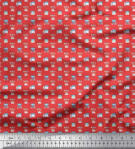 Soimoi Orange schwere Satin Stoff Tastatur, Telefon & Monitor Hardware- Dekor Stoff gedruckt 1 Meter 54 Zoll breit