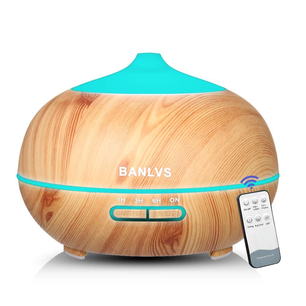BANLVS Humidificador Aromaterapia Ultrasónico con Mando a Distancia, 400ML Difusor de Aceites Esenciales de 7-Color LED y 4 Temporizador, Humidificador Aromaterapia Bebé para Hogar, Dormitorio