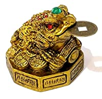 ITEM DESCRIPTION: Beautiful Gold Antique (2.5 inches) Chinese Feng Shui 3 legged Frog, Toad with lucky coin for wealth, money, prosperity and abundance in life. This Frog is sitting on huge treasure of gold coins and is beautifully jeweled with preci...