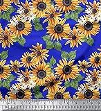 Soimoi Blau Baumwoll-Popeline Stoff Blätter und