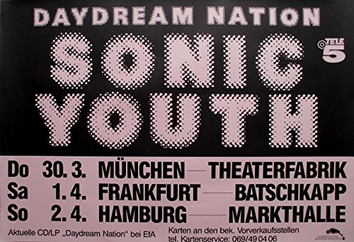 SONIC YOUTH - 1988 - Tourplakat - Concert - Daydream Nation - Tourposter