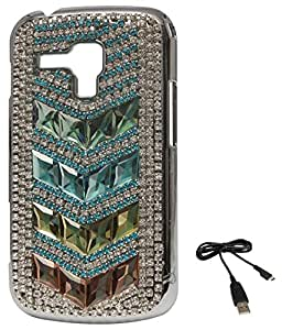 DMG Rhinestone Party Wear Back Case for Samsung Galaxy S Duos 2 S7582 (Tri-Line) + Data Cable