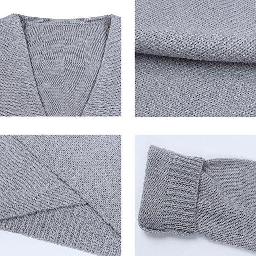 Femmes V Neck Croix avant Hauts en tricot Pull Pull Pullover Pulls à Manches Longues Hiver Mode Pulli Sweatshirt Tops Pullover Vêtements dextérieur S M L XL Noir