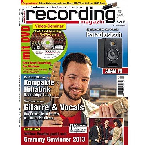 Recording Magazin 3 2013 mit DVD - Mischtechniken bei Gitarre & Vocals - Rock Band Recording Videoseminar - aufnehmen - mischen - mastern
