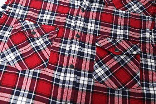 SOOPO Herren Ärmellose Kariert Flanell Hemden Freizeithemd aus Baumwolle Sleeveless T-Shirt Rot&Schwarz