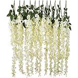 SKEIDO 12pcs Artificial Silk Wisteria Vine Ratta Silk Hanging Flower Wedding Decor,White
