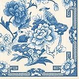 Caspari Serviettes de Table en Papier Motif, Bleu/Blanc