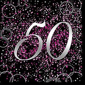 Unique Party- Paquete de 16 servilletas de papel de 50 cumpleaños, Color rosa metálico brillante (57472)