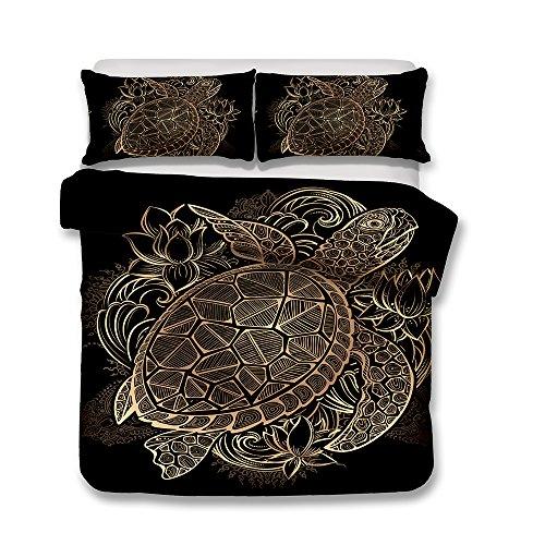 Bettwäsche Set Bettbezug Goldenes Muster Persönlichkeit Bettbezug + Kissenbezug Schwarz Hochwertige Bettwäsche-Set (Große Schildkröte, 200x200cm)