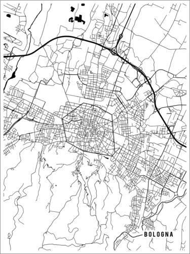 Poster 30 x 40 cm: Bologna Italien Karte von Main Street Maps - hochwertiger Kunstdruck, neues Kunstposter