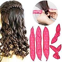 Rizadores de Cabello, HailiCare 30 pcs Bigudíes de Pelo flexible Rulos de Esponja Suave DIY peinado de Pelo Hair Curlers Roller Rosa