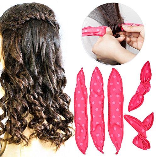 Bigoudis de Cheveux, HailiCare 30 Pcs Rouleux de Cheveux Flexible Bigoudis en Eponge Souples Outils de Coiffure Hair Curlers DIY Coiffure Outil Rose