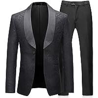Mens Suits 2 Pieces Wedding Formal Jacquard Shawl Lapel Tuxedo Jacket&Trousers