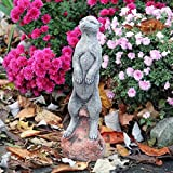 Grande pierre suricate Jardin Ornement Animal Statue Handcast Patio Décor Cadeau