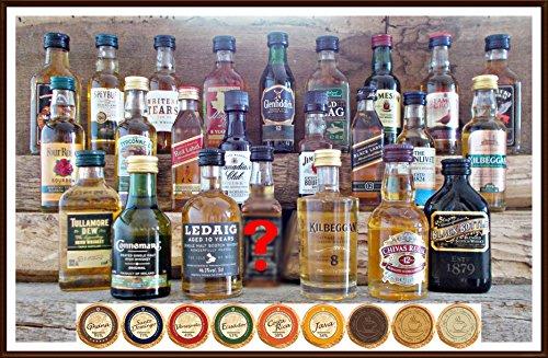 24 Whisky Miniaturen aus Schottland Irland USA Kanada mit 24 DreiMeister Edel Schokoladen, kostenloser Versand