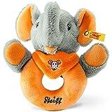 STEIFF 240270 Trampili Elefant Greifring, 12 cm, grau / orange