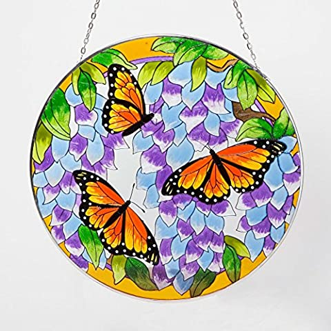 Bits and Pieces Home and Garden Décor-Artistic Butterfly Suncatcher - Hand Painted Monarch Butterfly Makes a Stunning Window