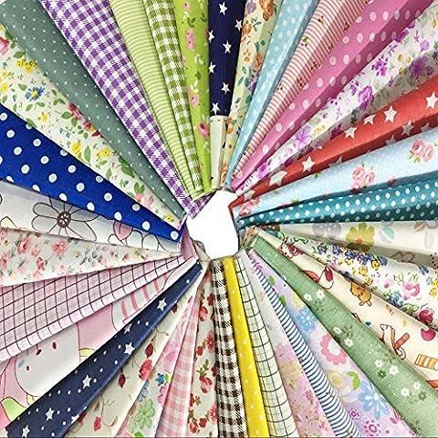 50Pcs Baumwollstoff Patchwork Stoffe DIY Gewebe Quadrate Baumwolltuch Stoffpaket zum Nähen mit vielfältiges Muster