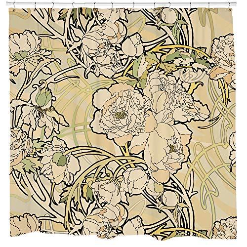 Quickmugs2u art nouveau tenda da doccia floreale tenda da bagno natura arredo bagno tenda per doccia in tessuto impermeabile tenda creme flower tenda, 60