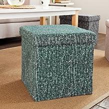SoBuy taburete, cubo taburete, caja de almacenaje, puff caja, puff, caja taburete, FSS18-K-GB,38cm