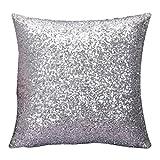 Kword Lussuoso Colore Solido Glitter Paillettes Throw Cuscino Caso Cafe Home Decor Cuscino Copre I Casi Di Cuscino Decorativi 45x45cm (Argento)