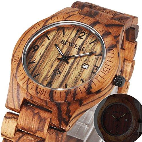 61hryM6fEEL - Alienwork Reloj Unisex Relojes Hombre Mujer Madera Zebrano marrón Analógicos Cuarzo Calendario Fecha Impermeable Madera Natural