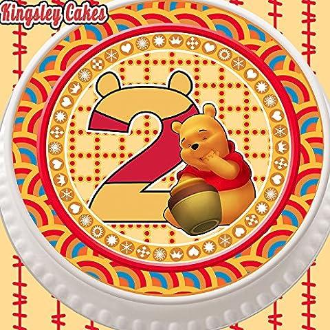 prédécoupée glaçage comestible pour gâteau–Rond 19,1cm Winnie l'ourson d'anniversaire 2ans