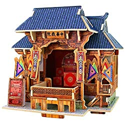 Creative Assemble Puzzle Toys Child Early Education Wooden 3D Puzzle House Chinese Theater