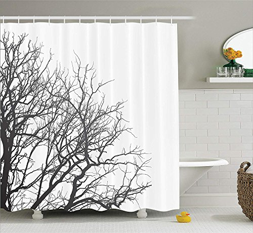 House Decor Shower Curtain Set by, Leafless Branches of a Tree in Autumn Picture Dramatic November Days Out Twigs Design, Fabric Bathroom Decor with Hooks, 66x72 inches, Black White
