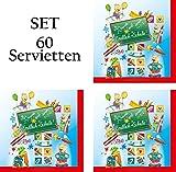 60 Servietten Schulanfang Set 03 - Endlich Schule - Servietten Einschulung