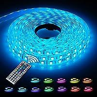 LED Strip 5M, LED Streifen, infinitoo led band 5M 5050 RGB 300er LEDs mit Fernbedienung 44 Tasten, Mehrfarbige Bänder für beleuchtung und Küche, unter Schrank, Terrasse, Balkon, Party und Haus Deko