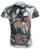 Ako Roshi Herren T-Shirt Miyamoto Musashi Kampfsport Tattoo Japan MMA Drache (Weiß L)