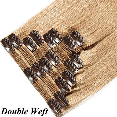 Extension Clip Capelli Veri Umani 8 Fasce Biondo Double Weft 110g 100% Remy Human Hair Lisci Lunghi con 18 Clips Parrucche da Donna 10' 25cm #27 Biondo Scuro