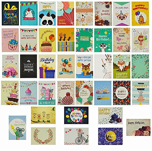 Geburtstagskarten Set, 40 Stück, einzigartige Designs und Goldverzierungen, HonWally Premium Geburtstatkarten Box mit 40 Weißen Umschlägen