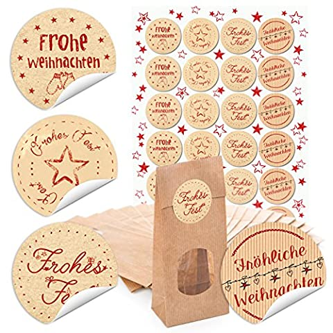 """24 braune Blockbodenbeutel mit Fenster und Pergamineinlage (7 x 4 x 20,5 cm) und 24 runde beige rote Aufkleber 4 cm """"Weihnachtswünsche"""" zum liebenvollen Verpacken"""